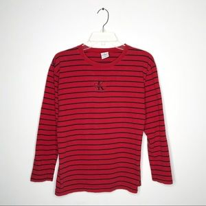 Vintage 90s Calvin Klein Red Striped Long Sleeve